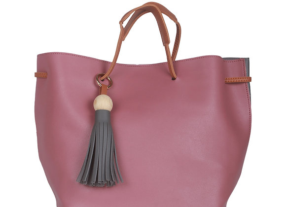 Pink & Grey Solid Handheld Bag