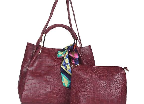 Maroon Textured Leather Shoulder Bag
