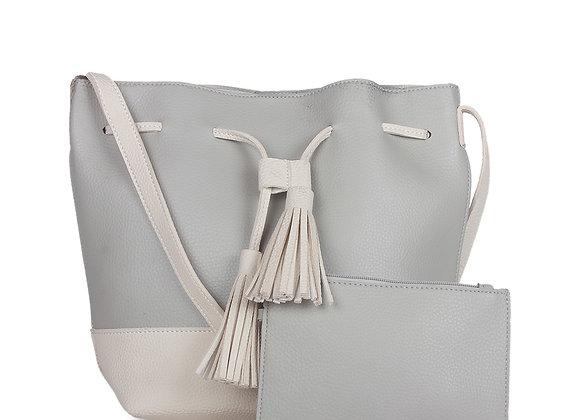 Grey Colourblocked Leather Shoulder Bag