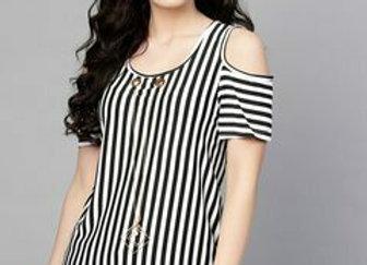 Women Black & White Striped Top