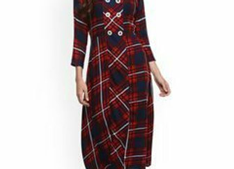 Women Red & Navy Blue Checked A-Line Kurta