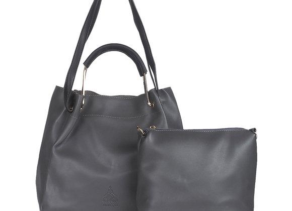 Women Grey Leather Solid Clutch
