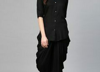 Women Black Solid Kurti with Dhoti Pants