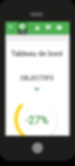 plateforme eGreen pour iPhone et smartphones. Tableau de bord