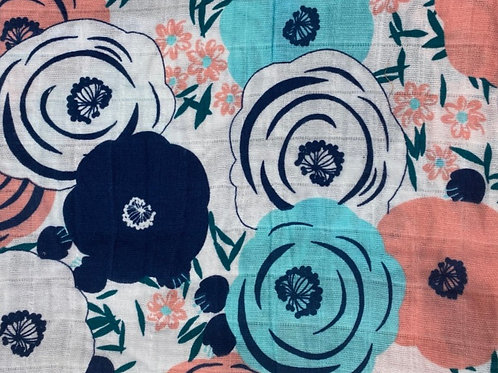 Floral in Navy Blue & Turquoise