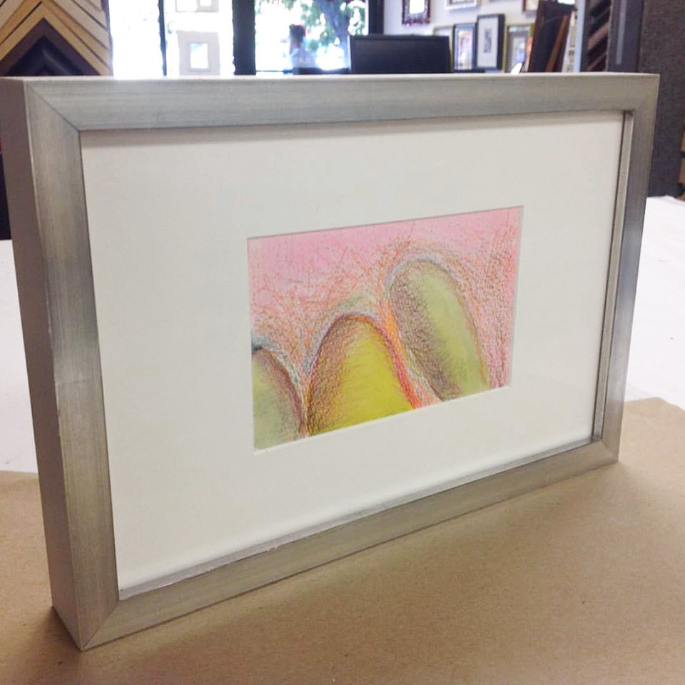 watercolor, silver leaf frame