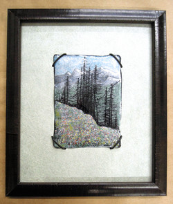 enamel on copper, leather frame