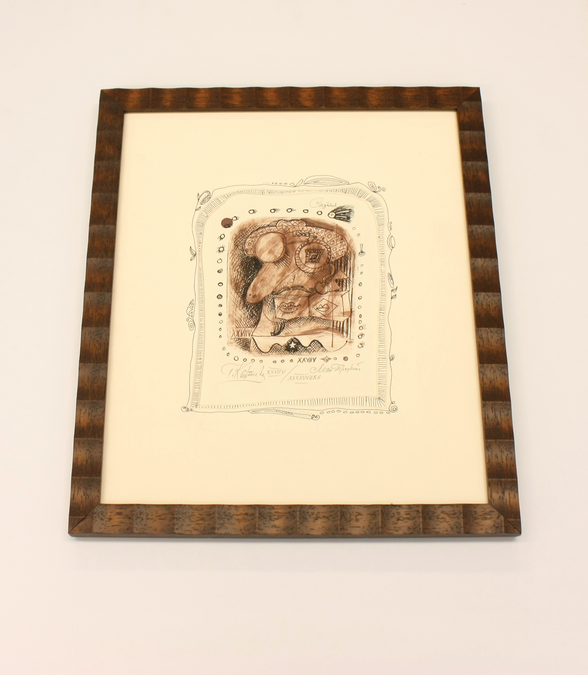 monoprint, uneven mat and decoration