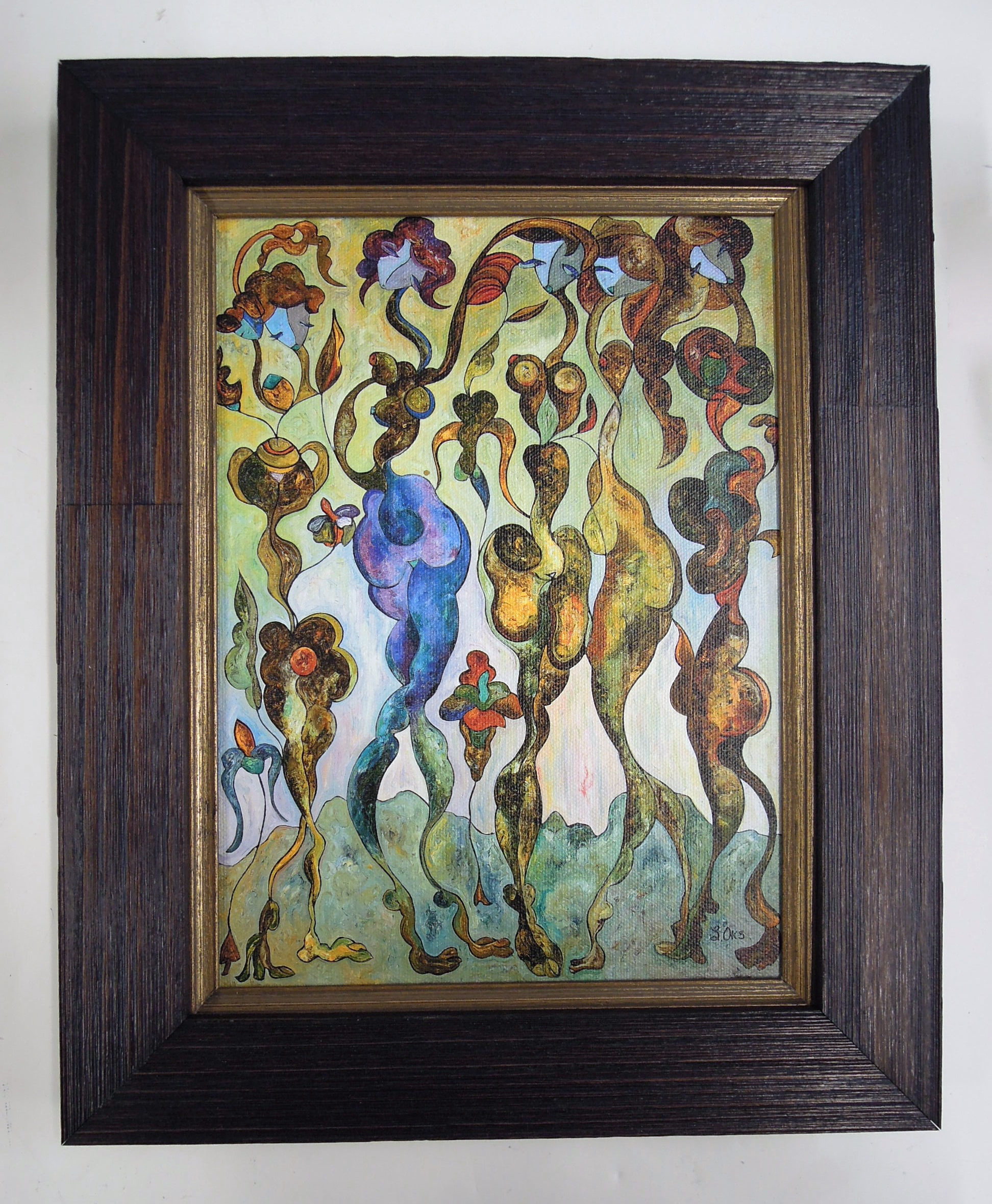 oil on board, indigo washed frame