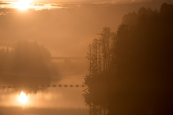 朝靄 惣の関ダム