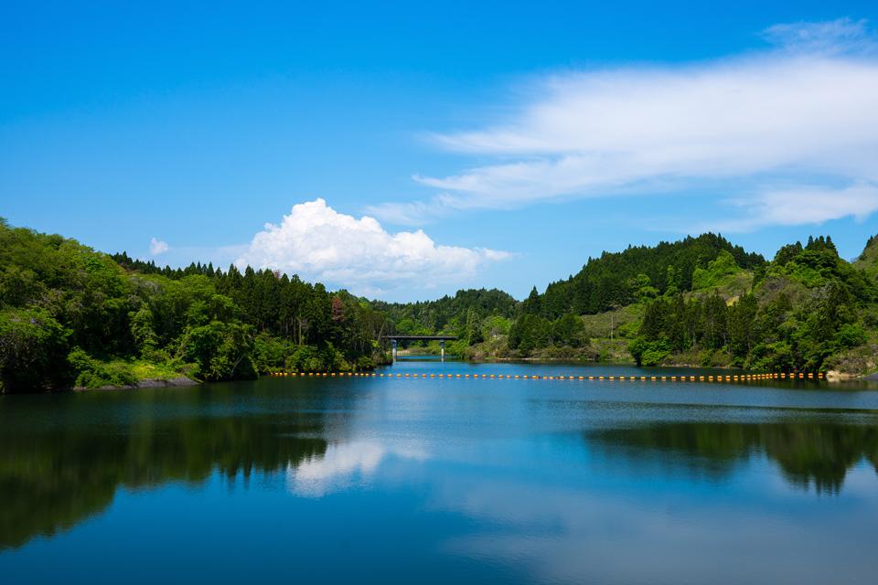 初夏の惣の関ダム湖