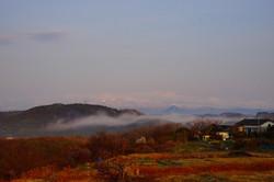 惣の関にかかる朝靄
