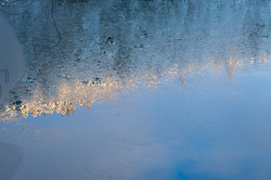 結晶水鏡  寒風沢溜池 上の堤