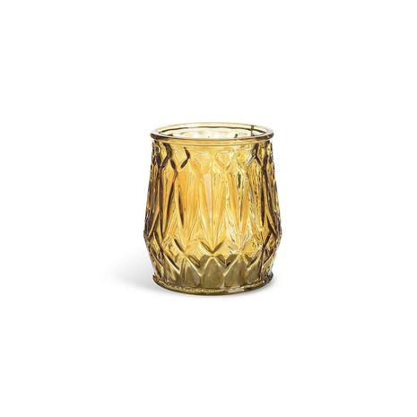 3x Windlicht, Glas, gelb
