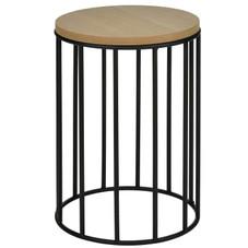 2x Beistelltisch, Holz/Stahl