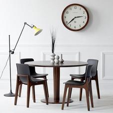 Tisch rund mit 4 Stühlen, Stuhlsitze schwarz/Tisch und Stuhlbeine wengefarben