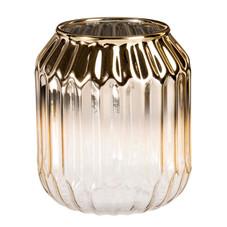 2x Vase/Windlicht, Glas, gold