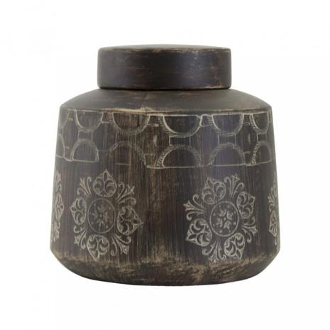 Deckelvase groß, braun/natur, Ornamente