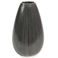 2x Vase, Keramik, dunkelgrün/grau