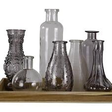 Vasen-Set mit Tablett, Glas/Holz, grau (Abb. ähnlich)