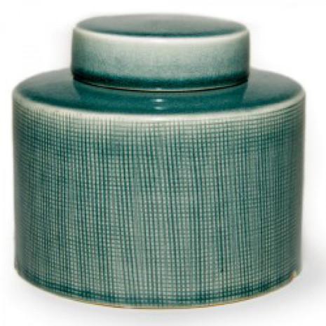 Deckelvase, Keramik, blaugrün