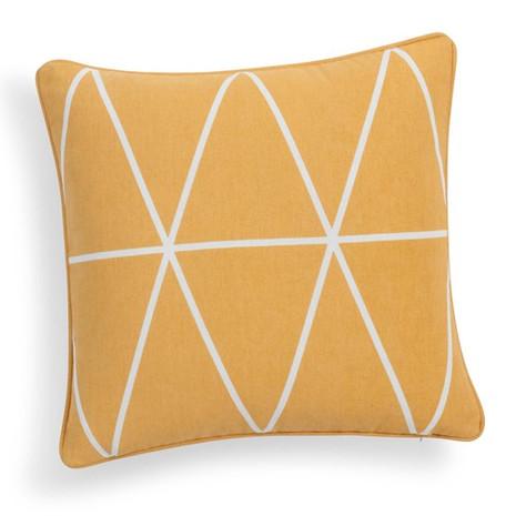 4x Kissen inkl. Füllung, gelb-weiß