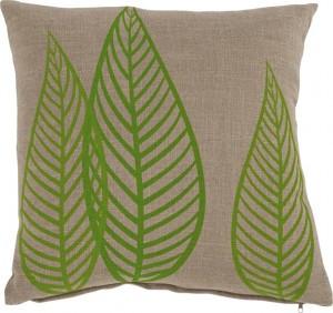 3x Kissen inkl. Füllung, grün/taupe, Blätter