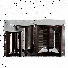 Beistelltische Holz, 3er-Set (wengefarben)
