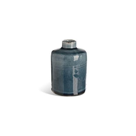 3x Vase, Keramik, blau