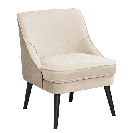 2x Sessel, gepolstert, creme, Holzbeine wengefarben