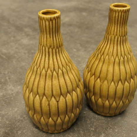 2x Vasen, Keramik, gelb