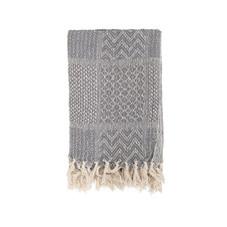 Decke mit Fransen, schwarz/weiß gemustert