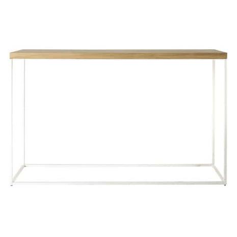 Konsolentisch, 130x35 cm, Eiche/Stahl weiß