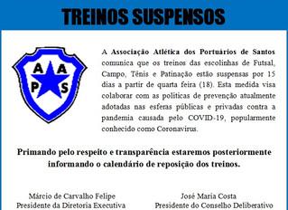 Nota Oficial - Treinos Suspensos