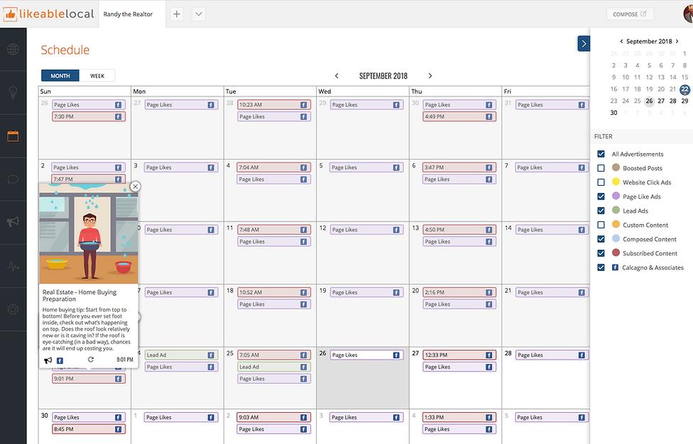 Social Media Schedule Calendar for Realtors