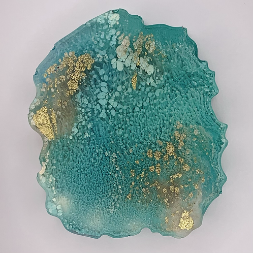 """Pre-Made 1.5"""" Geode Tag - Gold"""