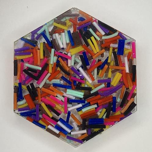 """Pre-Made 1.5"""" Hexagon - Sprinkles"""