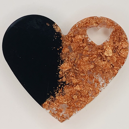 """Pre-Made 1.5"""" Heart - Rose Gold Flake"""