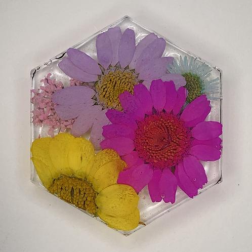 """Pre-Made 1.5"""" Hexagon - Floral"""