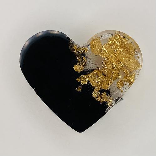 "Pre-Made 1"" Heart 21 - Gold Flake"