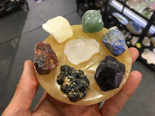 Seven Color Stone With Yellow Jade Stand 7 脈輪 7 星陣