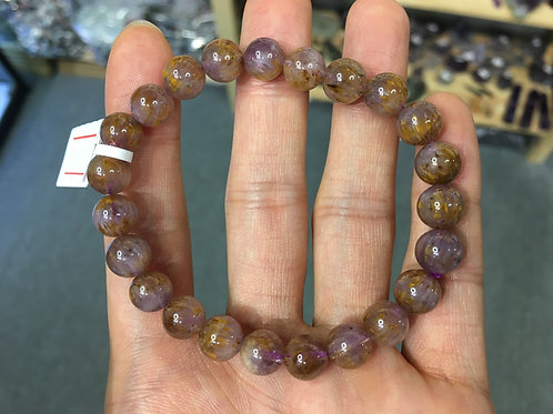 Amethyst Cacoxenite 紫鈦晶 8mm ( 2 )