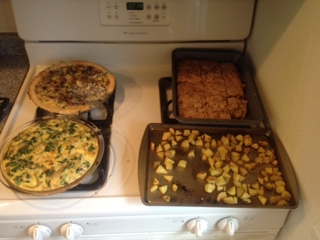 Rhubarb Coffee Cake, Roasted Potatoes, Spinach Quiche and Sausage Quiche