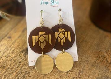 Leather & Gold Thunderbird Earrings