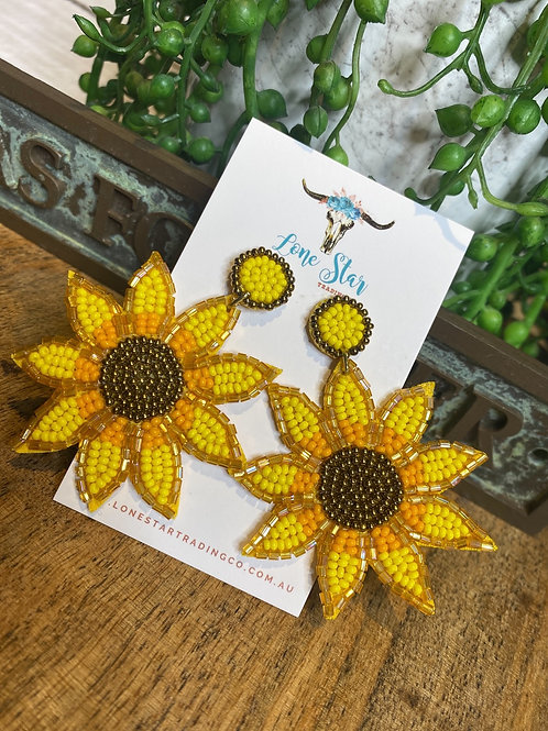 Beaded Sunflower Dangles