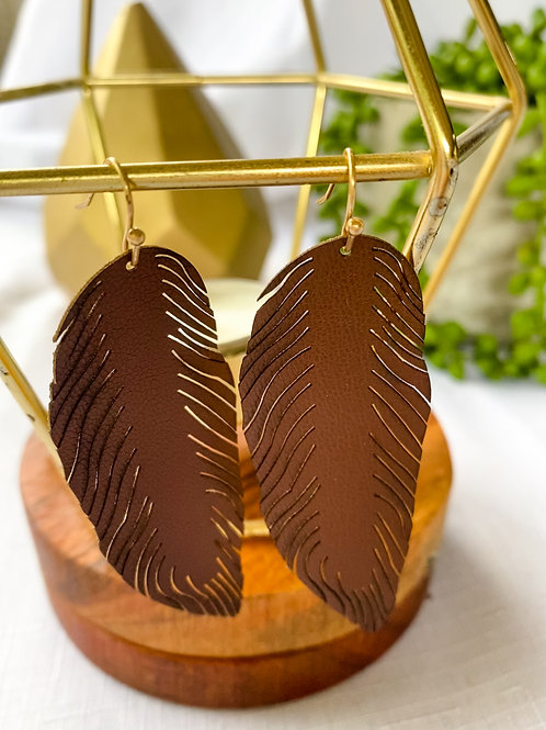 Brown Leather Feather Earring
