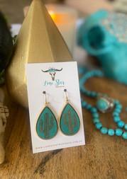 Turquoise Wood Cactus Earrings