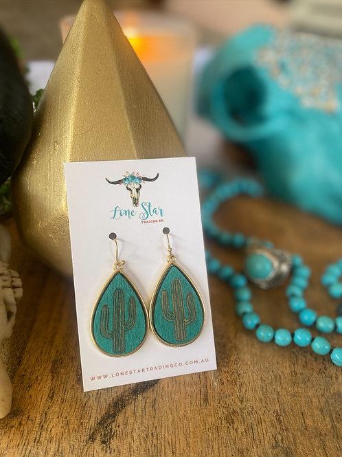Turquoise Wood Cactus Earring