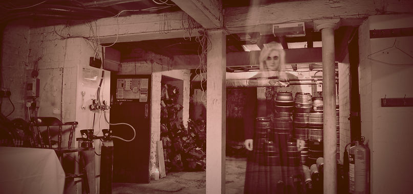 Ghostly girl in the beer cellar