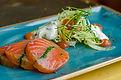Salmon starter on a blue plate